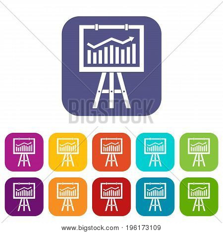 Flipchart with marketing data icons set vector illustration in flat style in colors red, blue, green, and other
