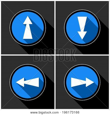 four white blue arrows with black shadows in different directions in front of a dark gray background