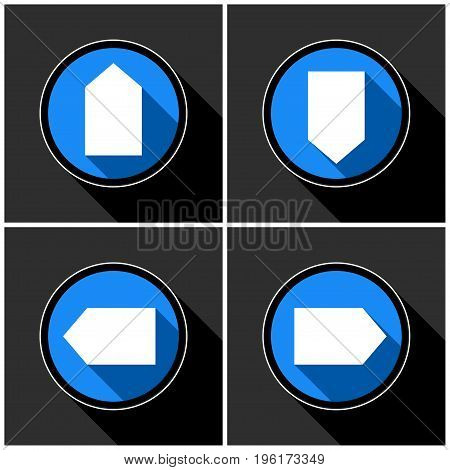 four white blue arrows with black shadows - different directions in front of a dark gray background