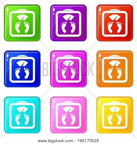 Floor scales icons of 9 color set isolated vector illustration