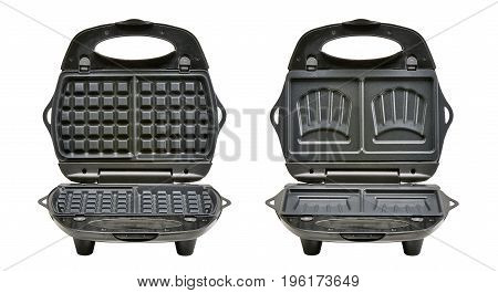 Open Waffle And Croque-monsieur Iron Maker Isolated