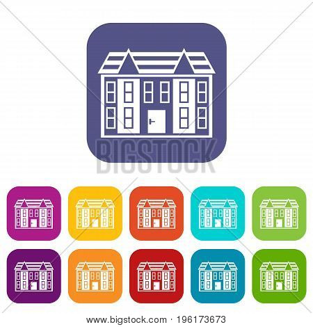 Large two-storey house icons set vector illustration in flat style in colors red, blue, green, and other