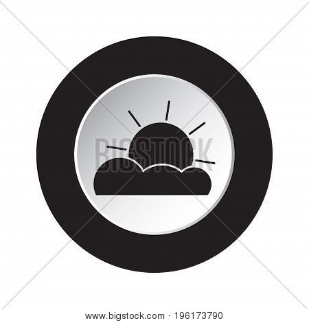 round isolated black and white button with black weather forecast partly cloudy icon