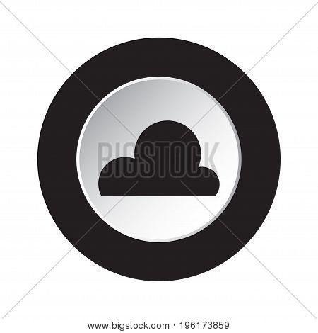 round isolated black and white button with black weather forecast cloud cloudy icon