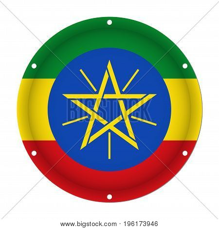 round metallic flag of Ethiopia with six screw holes in front of a white background