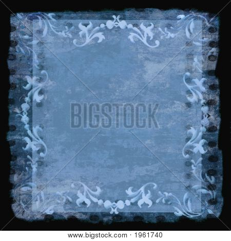 Decorative Border Frame Grunge Blue