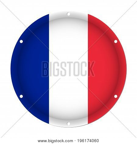 round metallic flag of France with six screw holes in front of a white background