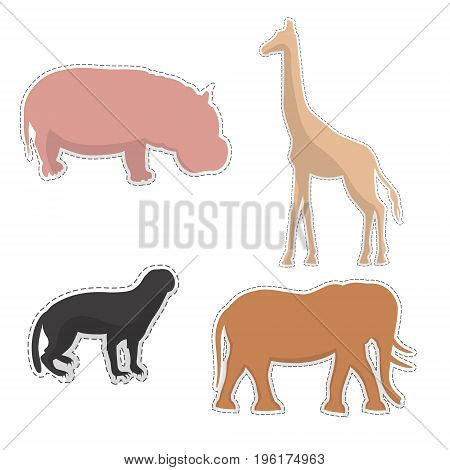 African Hippopotamus, Giraffe, Elephant and Honey Badger  Silhouettes Made as Stickers or Air Fresheners for Car. Vector EPS 10