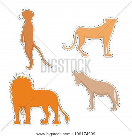 African Meerkat, Cheetah, Hyena and Lion  Silhouettes Made as Stickers or Air Fresheners for Car. Vector EPS 10