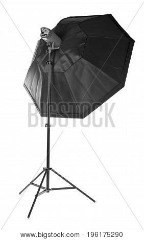 Equipment for photo studios and fashion photography. Octobox, isolated on a white background. Photographic lighting. Studio flash with soft-box on white background.