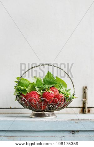 Fresh ripe garden strawberries and melissa herbs in vintage vase standing on blue white wooden kitchen table. Rustic style, day light, copy space