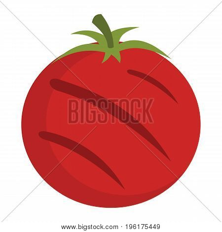Grilled tomato in cartoon flat style isolated on white background barbeque object for summer party barbeque design and web