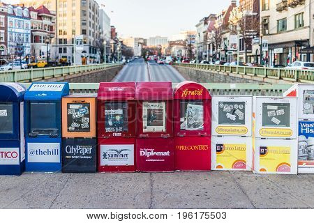 Washington Dc, Usa - February 5, 2017: Newspaper Kiosks Vending Machines On Dupont Circle