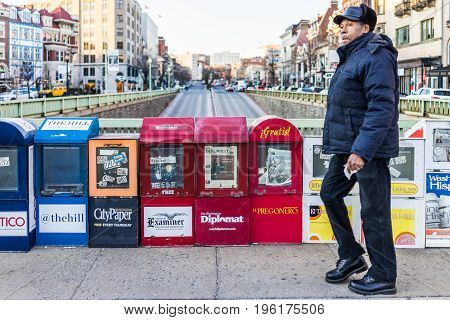 Washington Dc, Usa - February 5, 2017: Newspaper Kiosks Vending Machines On Dupont Circle With Perso