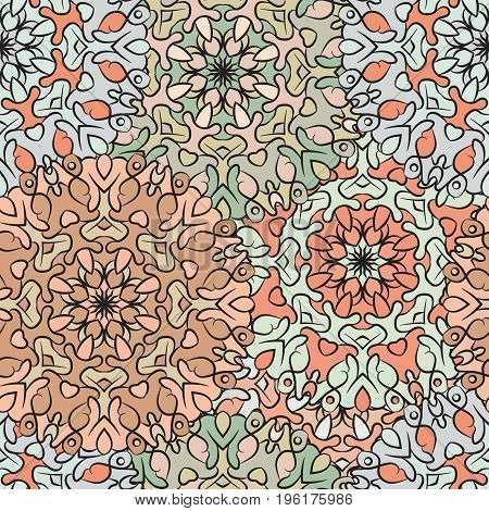 Seamless pattern in oriental style, colored wrapping-paper with flowery mandalas ornament. Turkish, arabic, indian, chinese, mexican style wallpaper in pastel colors. Textile, print design.