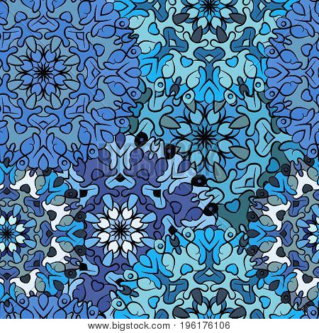 Seamless blue artistic pattern. Ornament for decoration, print for cloth, wallpaper or wrapper. Ethnic oriental or african exotic style.