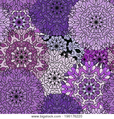 Seamless violet artistic pattern. Ornament for decoration, print for cloth, wallpaper or wrapper. Ethnic oriental or african exotic style.
