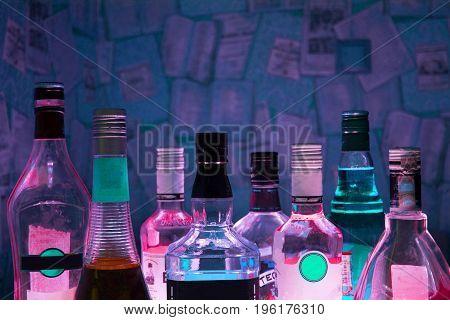 Kazan, Russia 25.02.2017: Plenty Bottles Of Alcohol Drinks In A Row