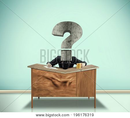 A man has his head pushed by a question mark onto his desk and the desk had bent in the middle.