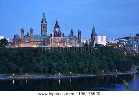 Parliament Buildings and Library at night, Ottawa, Ontario, Canada.