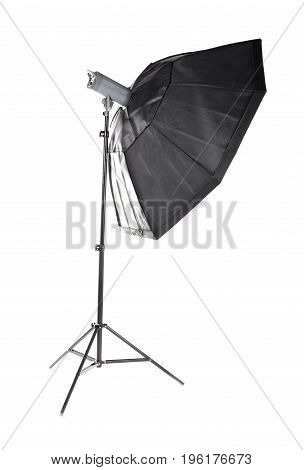 Modern octobox, isolated on a white background. Equipment for photo studios and fashion photography. Photographic lighting. Preparation for studio shooting.
