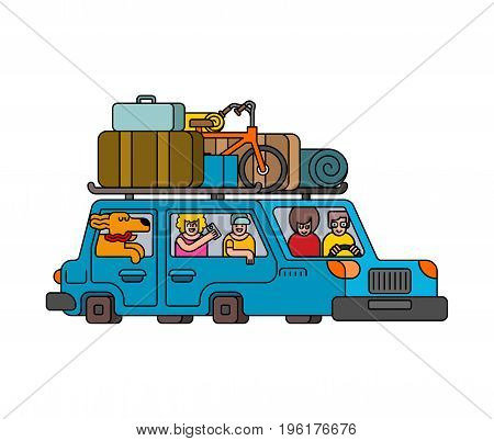 Car For Weekend Outline Style. Family Go To Camping Line Style. Things To Relax. Bicycles And Suitca