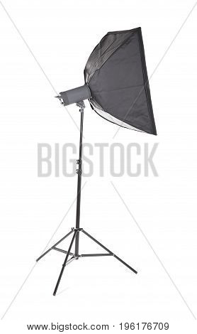 Professional studio flash with soft-box. Studio lighting.  Photographic equipment lighting board theme elements, isplated on a white blackground. Outbreak.