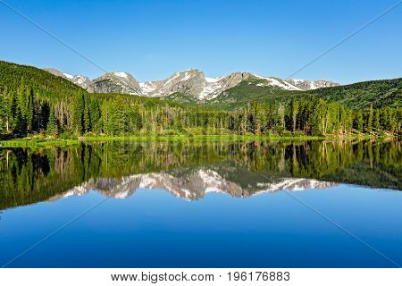 Mountain reflection on Sprague Lake in Rocky Mountain National Park.