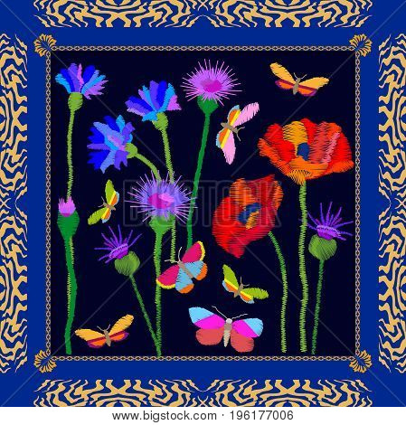 Silk scarf with tulips and poppies. Stylized embroidered texture. Vintage textile collection.