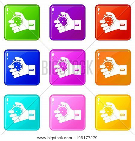 Hand holding stopwatch icons of 9 color set isolated vector illustration