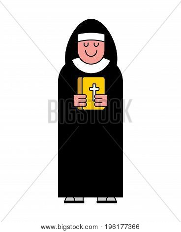 Nun And Bible Contour Style. Catholic Religious Woman Linear Style.