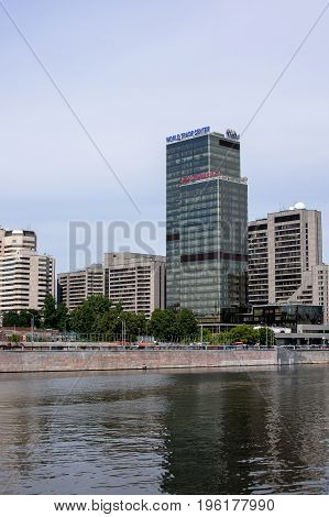 Russia, Moscow - June 30, 2017:view Across The River To The Embankment Of The Old Town