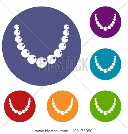 Bead icons set in flat circle red, blue and green color for web