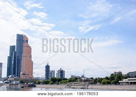 Russia, Moscow - June 30, 2017: Skyscraper Buildings Moscow-city Moscow International Business Cente