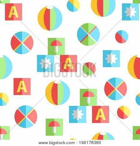 Newborn infant cute flat seamless pattern. Simple toys, balls and cubes. Vector drawings illustration. Bright colors.