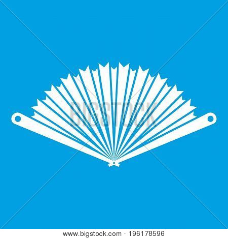Opened oriental fan icon white isolated on blue background vector illustration