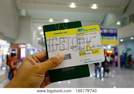 Air Ticket With Travel Documents At Airport