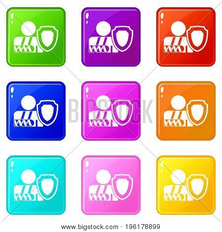 Broken arm and safety shield icons of 9 color set isolated vector illustration