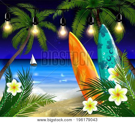 Palm trees on night beach surfing boards and boat background vector
