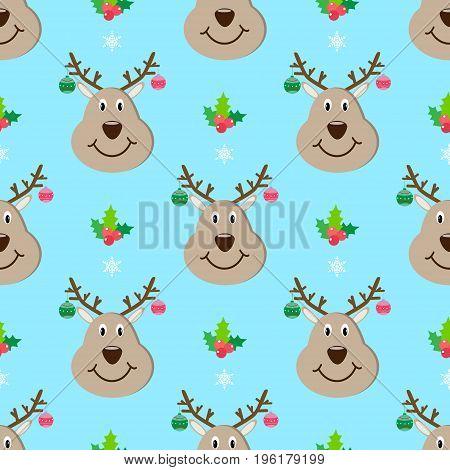 Deer head new year seamless pattern vector decorative, antler, wild, animal, december