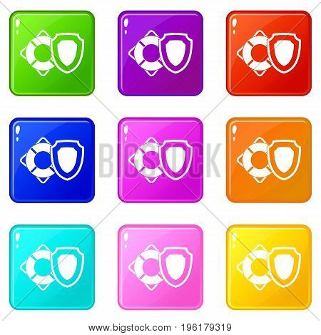 Lifebuoy and safety shield icons of 9 color set isolated vector illustration