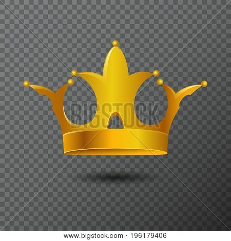 Vector illustration with golden crown icon isolated on background. Volume royalty diadem created by gradient. Shiny realistic jewel used for a logo, label, certificate or diploma creations.