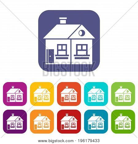 Large single-storey house icons set vector illustration in flat style in colors red, blue, green, and other