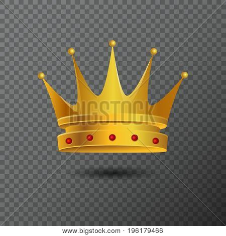 Golden crown icon with red stones. Vector illustration with volume diadem created by gradient. Shiny realistic jewel used for a logo, label, certificate or diploma creations.