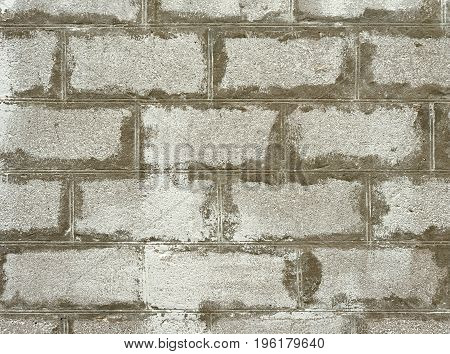 Close up photo of gray old brick wall for background