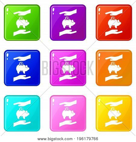 Piggy bank and hands icons of 9 color set isolated vector illustration