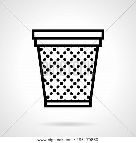 Abstract symbol of empty basket or trash can for paper. Accessories and equipment for office. Black simple line design vector icon.