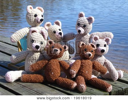 Teddy-bears will enjoy the sunny afternoon picnic on the bank of river poster