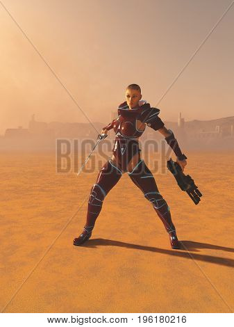 Science fiction illustration of a mystic future warrior priestess with sword and gun on a desert planet, digital illustration (3d rendering)