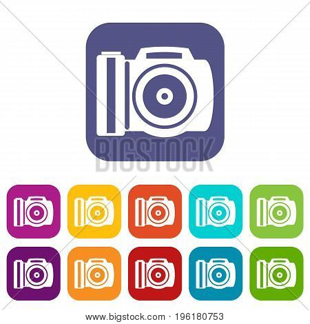 Camera icons set vector illustration in flat style in colors red, blue, green, and other
